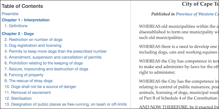 Table of Contents for Cape Town's Animal By-law